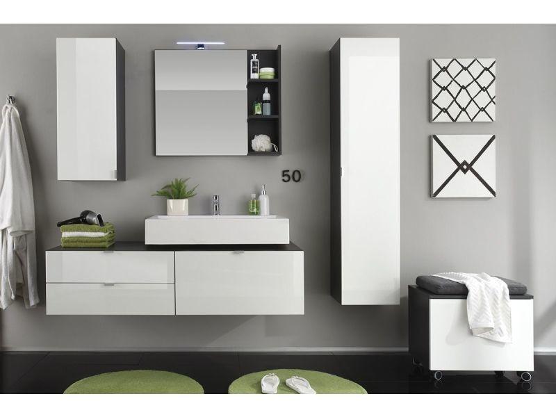 Meuble de rangement pour salle de bain avec roulettes 55 cm coloris ...