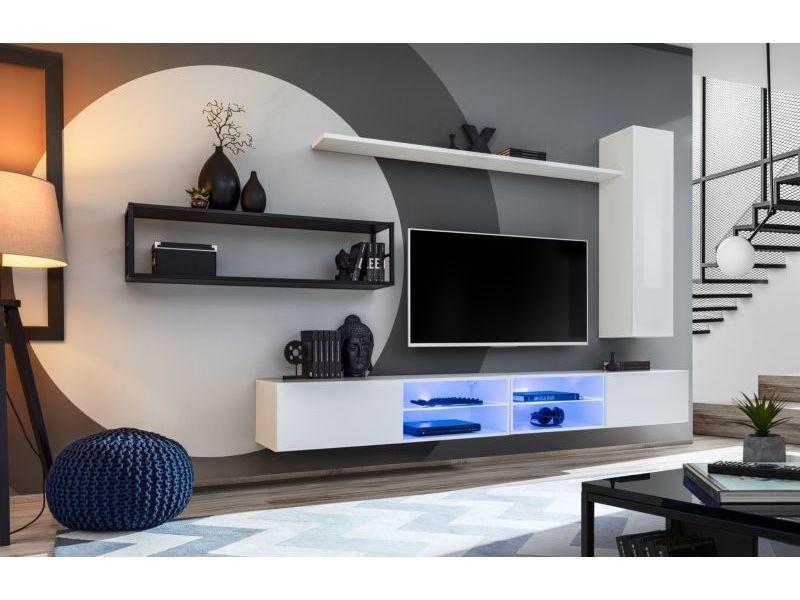 Ensemble meuble tv mural switch met iv - l 300 x p 40 x h 170 cm - blanc