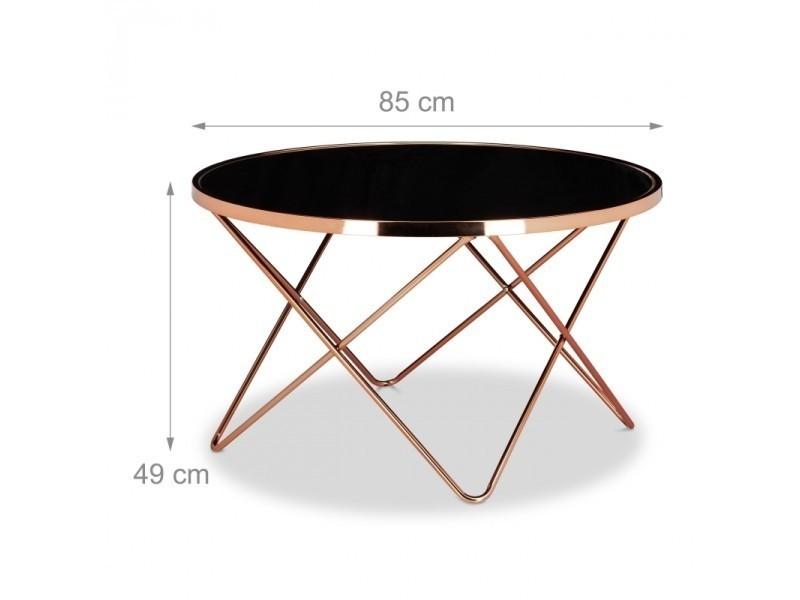 Table Basse Ronde Diametre 83 Cm Cuivre Et Verre Noir Moderne