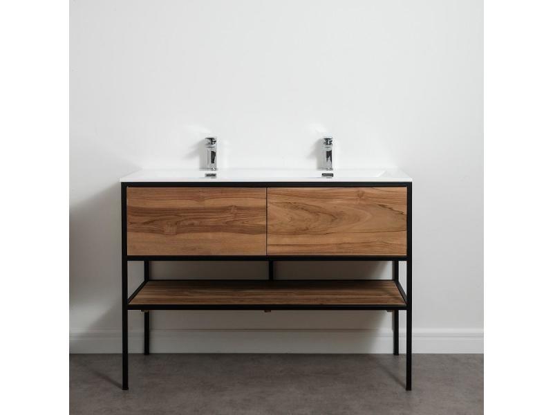 Meuble salle de bain factory en teck et métal noir 120 cm ...