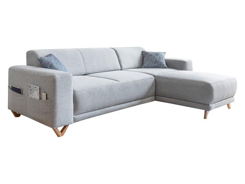 Canapé d'angle réversible fixe bella gris clair