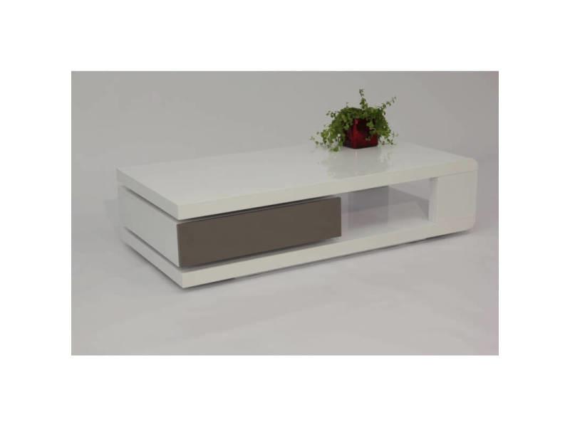Table basse design laquée blanche et grise jawa