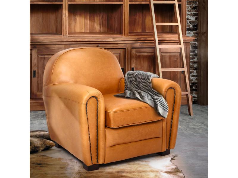 Fauteuil club en cuir camel orsay - couleur marron