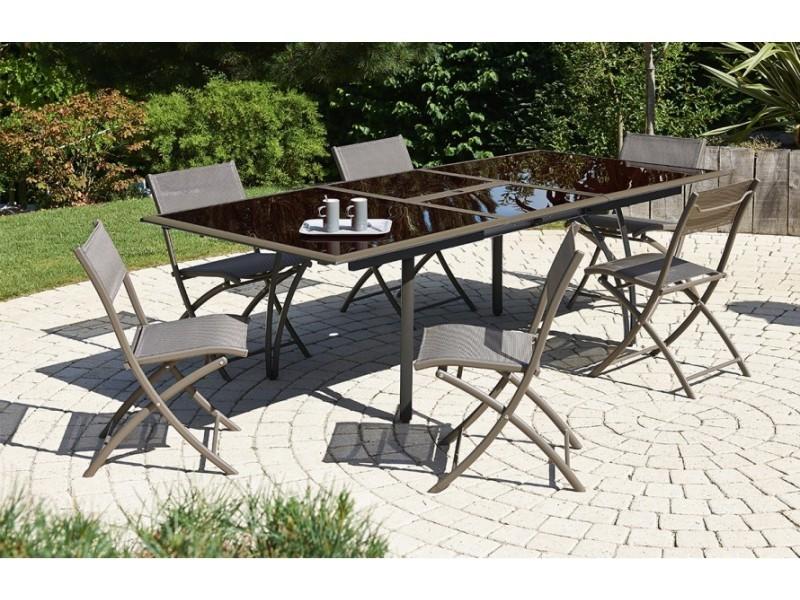 Salon de jardin - table et 6 chaises cappuccino - Vente de DCB ...