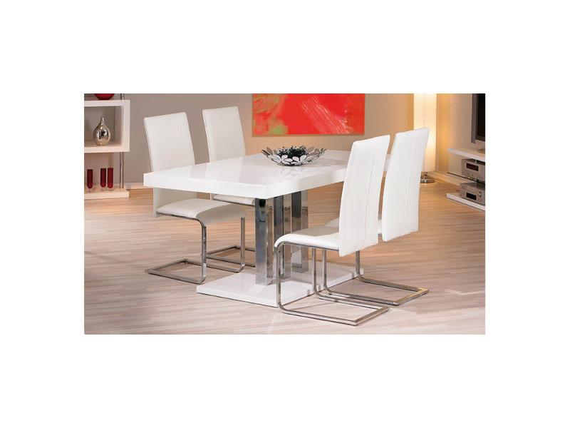 Table à manger design blanc laqué l160 oriane - Vente de ...