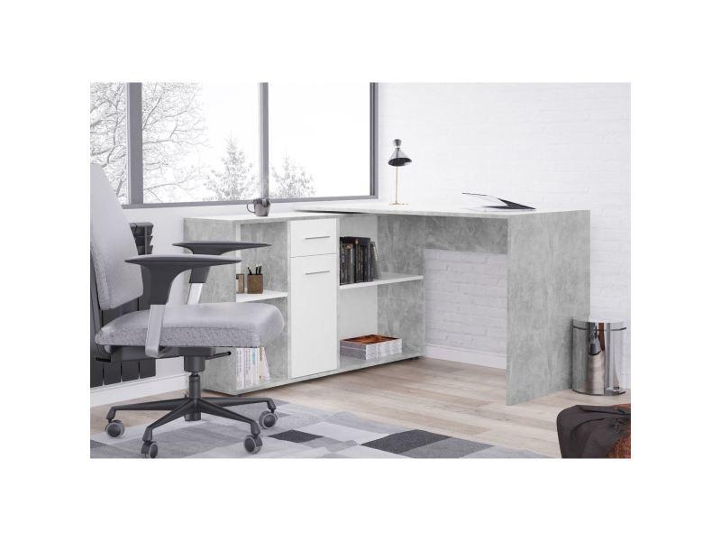 Bureau D Angle Carmen Table Avec Meuble De Rangement Integre Et