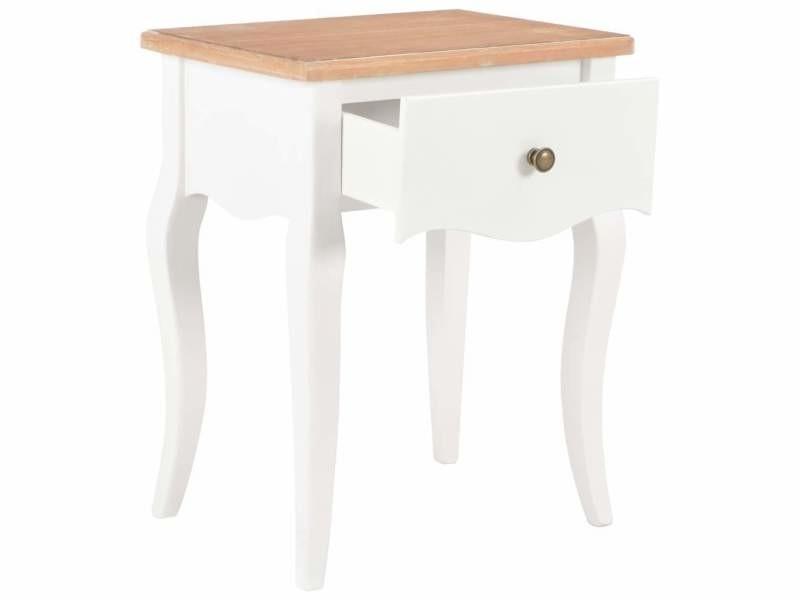 Table de nuit chevet commode armoire meuble chambre blanc et ...