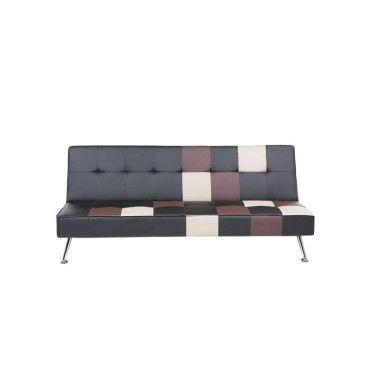 Canapé - canapé convertible - patchwork - cuir - noir ...