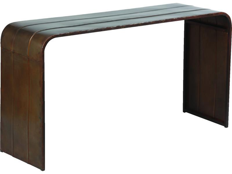 Console en métal vieilli - dim : l 150 x p 45 x ht 81 cm - pegane -