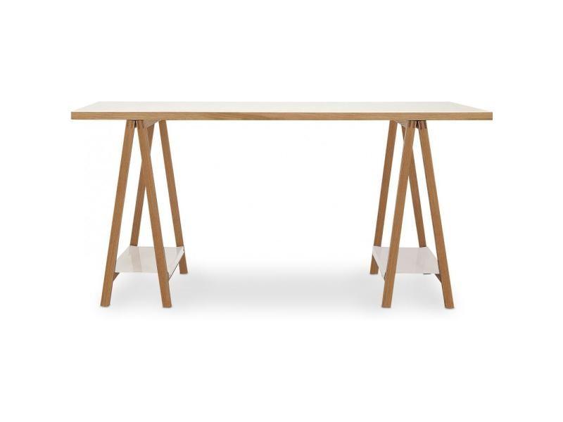 Table en bois avec tréteaux style scandinave bois naturel vente