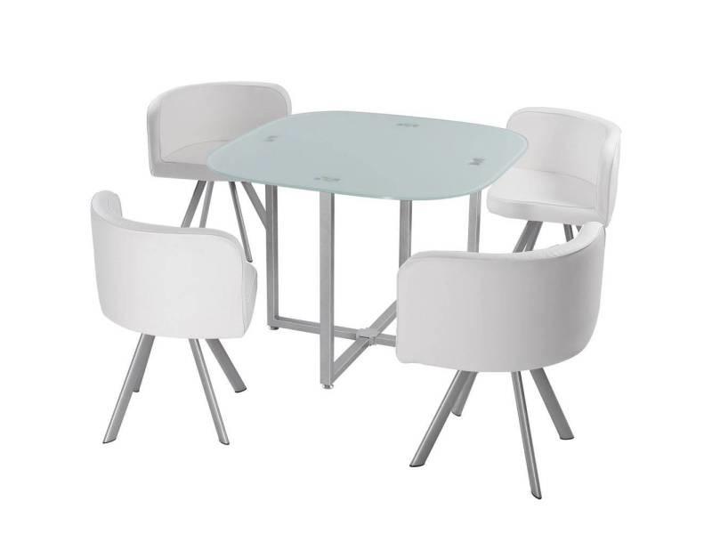 Table et chaises mosaic 90 blanc Vente de MENZZO Conforama