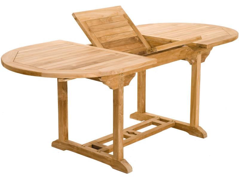 Table de jardin extensible 150-200 cm en bois de teck massif coloris ...