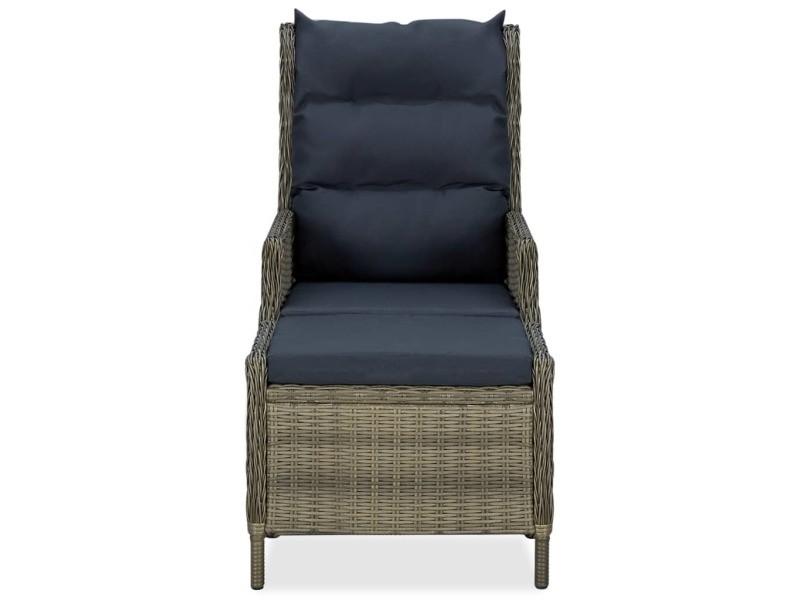 Vidaxl chaise inclinable de jardin avec tabouret résine tressée marron