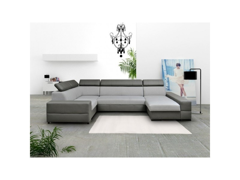 a2e23fd168fe6 Canapé d angle panoramique 6 places capri xxl design gris TENDENCIO ...