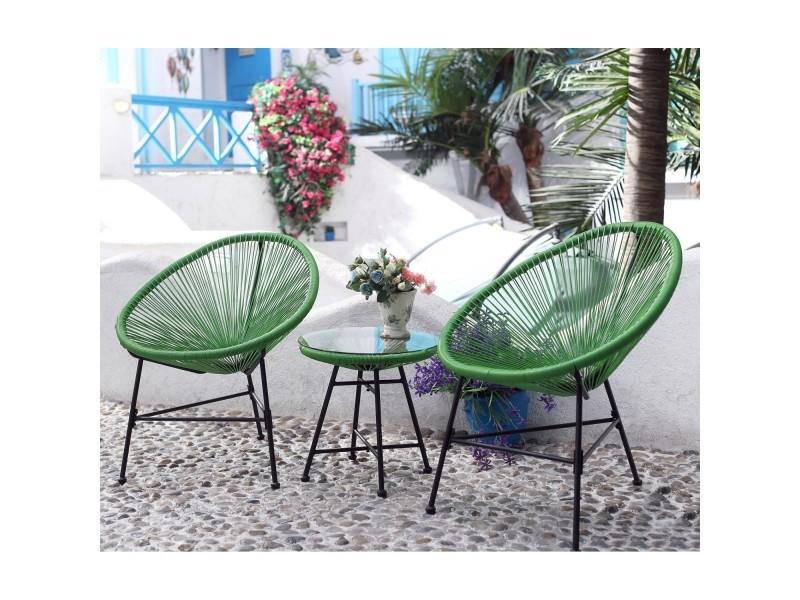 Le palmero : salon de jardin vert 2 fauteuils oeuf + table ...