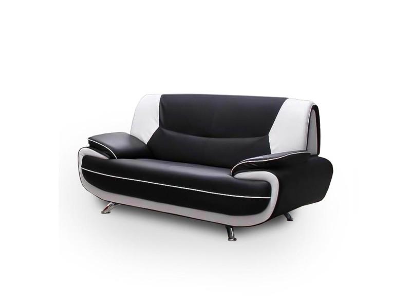 Muza - canapé design 2 places en simili cuir noir et blanc