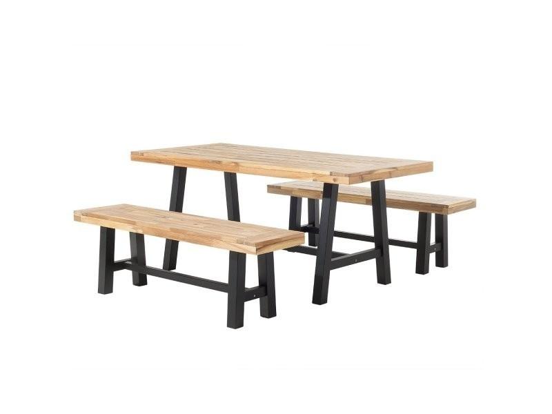 Set de jardin table et bancs en bois avec pieds noirs scania 38055