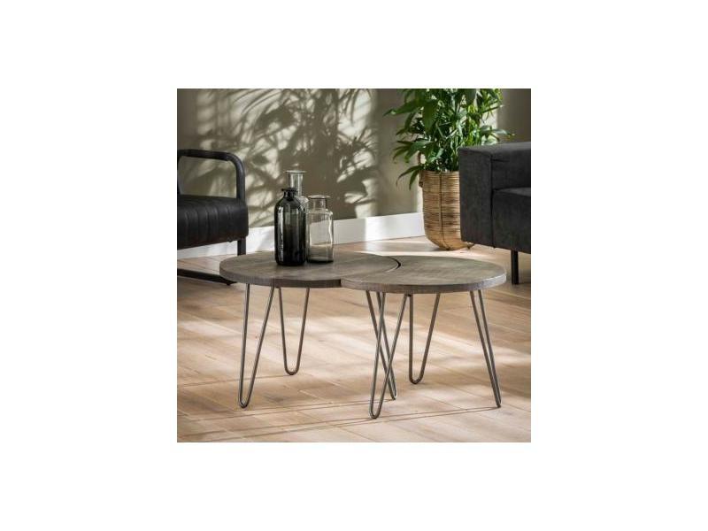 Petite Table Basse Ronde Couleur Bois Raen Vente De
