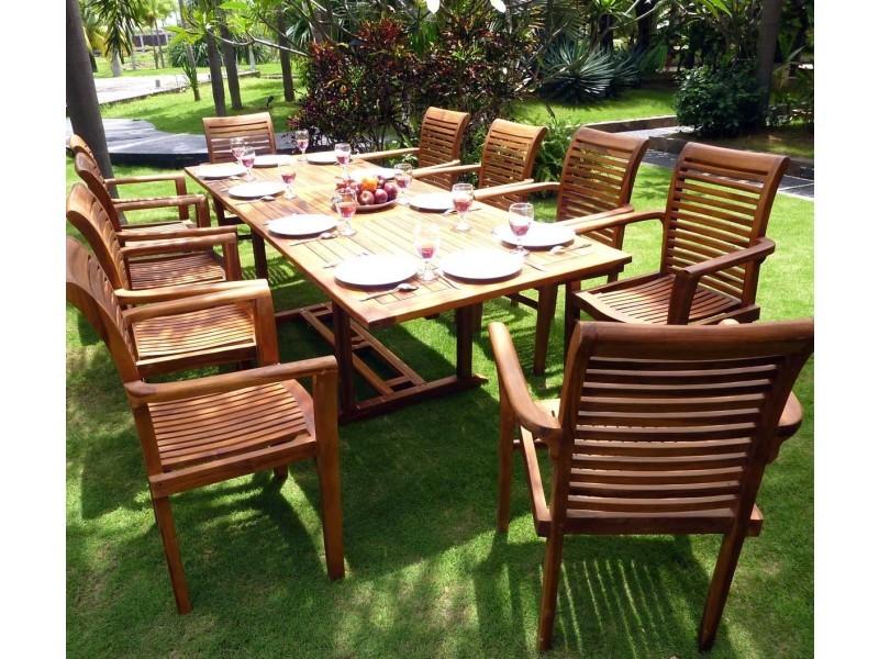 Salon en teck pour le jardin - table grande taille 200-300cm ...