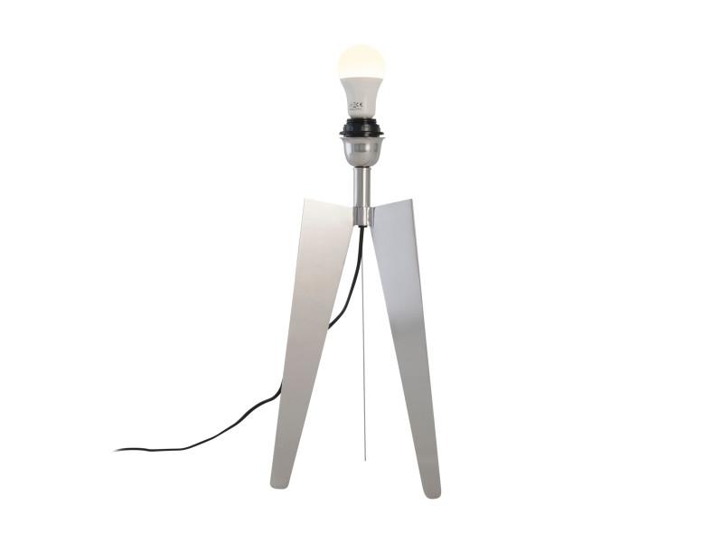 Pied de lampadaire TELESCOP argenté en métal chromé Keria