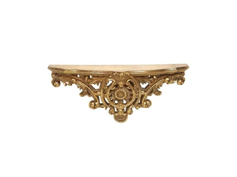 Console d'applique étagère en résine dorée style floral - 46 cm