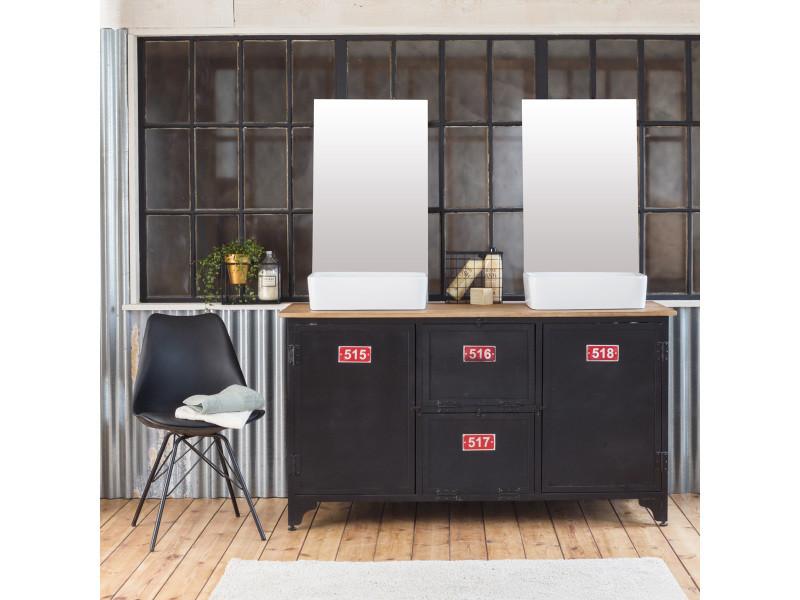 meuble salle de bain industriel 2 vasques m tal noir et. Black Bedroom Furniture Sets. Home Design Ideas