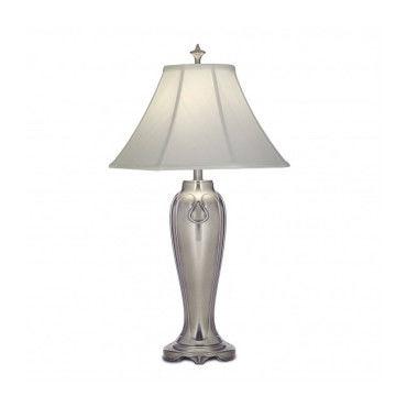 Lampe de table Oksana, nickel poli, pampilles cristal, 2 abat jours blancs