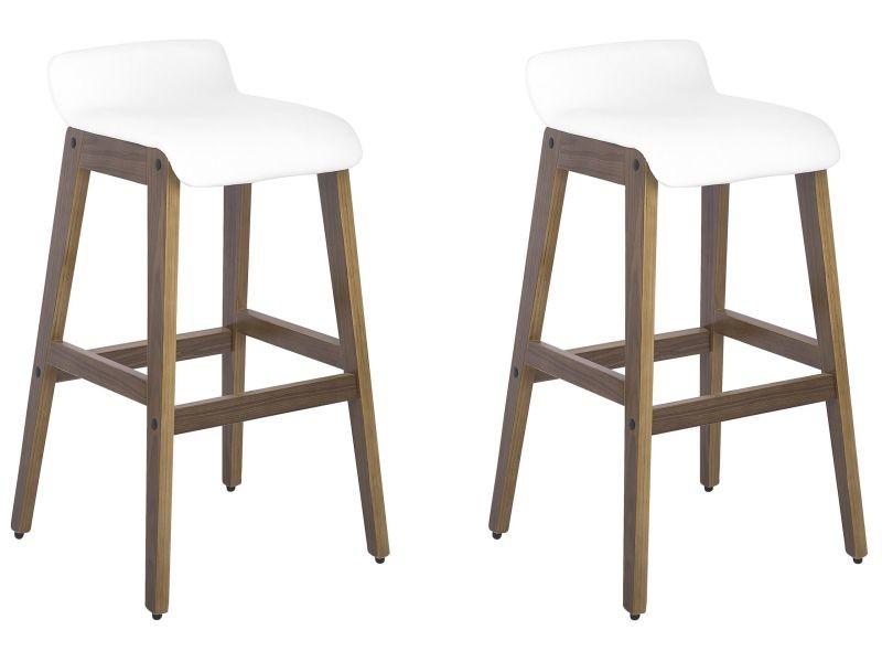 2 tabourets de bar en bois et simili-cuir blanc cody 113594