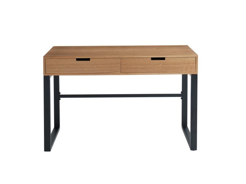 Tuzi - bureau en bois et métal l120cm - couleur - bois clair