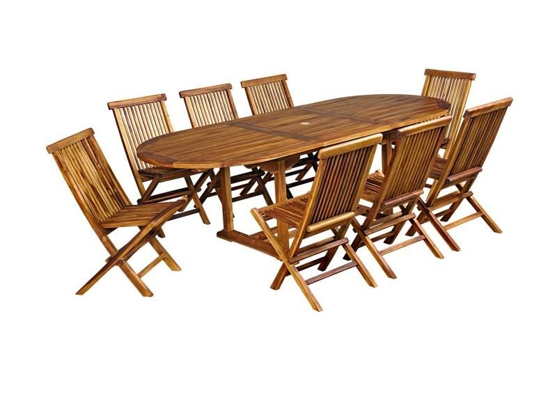 Salon de jardin en teck huilé pour 8-10 personnes table ovale - Vente ...