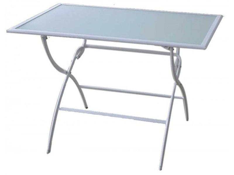 Table de jardin pliante en acier de couleur blanche - dim : 141.5 x 80 x ...