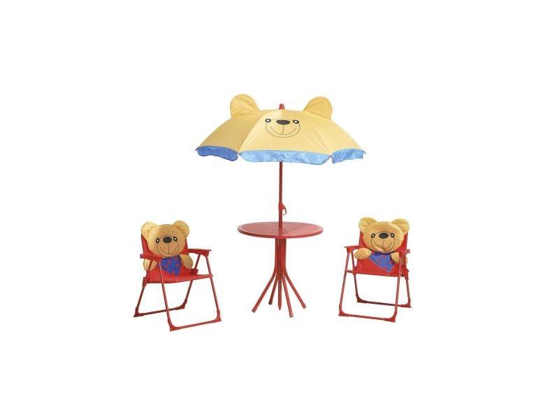 Salon de jardin enfant ourson - métal - rouge - Vente de Salon de ...