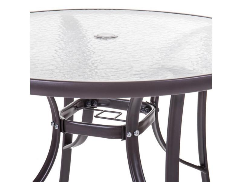 Table de repas ronde verre/acier marron - tikehau - l 90 x l ...