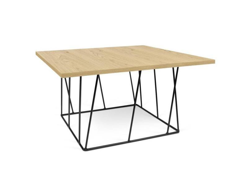 Table basse carrée helix 75 chêne structure laquée noire 20100868169