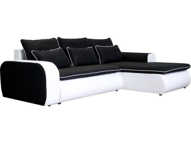 Convertible Tissu Places 3 En Canapé Noir Et D'angle Blanc Pvc zqSVUMGp