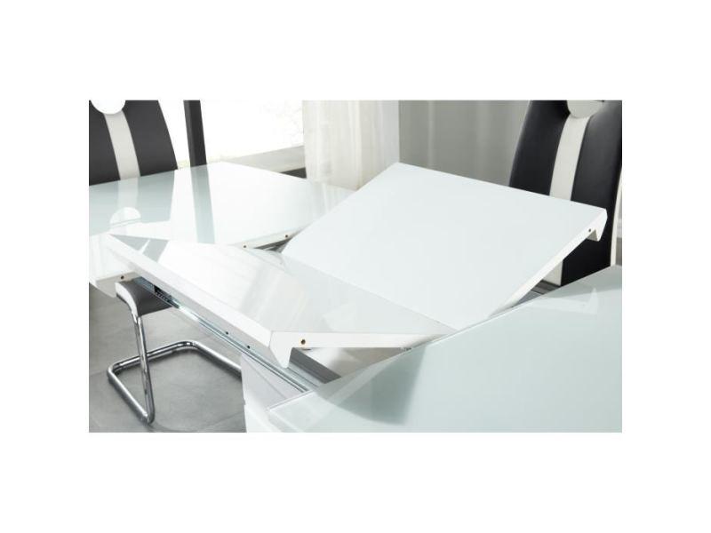 Table a manger seule ice table a manger extensible de 8 a 10 personnes style contemporain laqué blanc brillant avec socle en acier - l 160-220 x l 80 cm