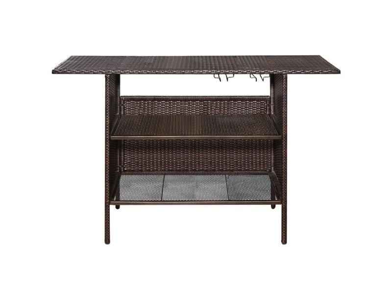 Table de bar de jardin en résine tressée avec 2 étagères de rangement 2 de rails pour porte-verres marron 20_0001166