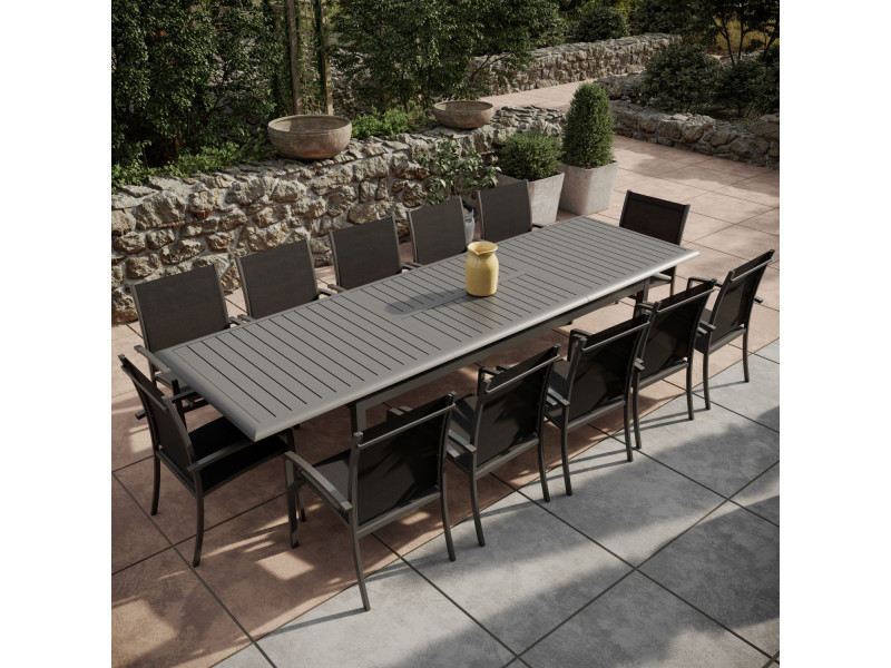Table de jardin extensible aluminium 220/320cm + 12 ...