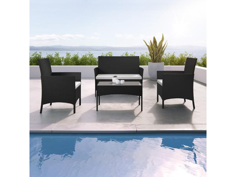 imora salon de jardin r sine tress e noir ecru. Black Bedroom Furniture Sets. Home Design Ideas
