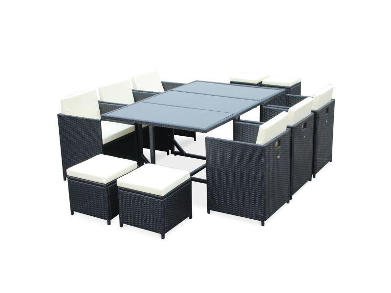 Salon de jardin cubo noir table en résine tressée 6 à 10 ...