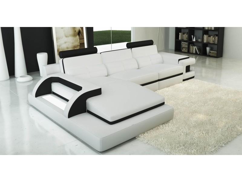 Canapé d'angle cuir blanc et noir design avec lumière ibiza (gauche)-