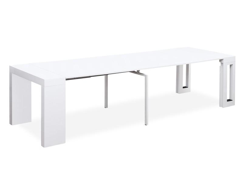 12 De Console Vente Loki Laqué Table Extensible Blanc Personnes PkZXiwOuT