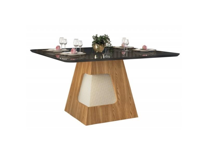 Table à manger 8 personnes carrée chêne et noir