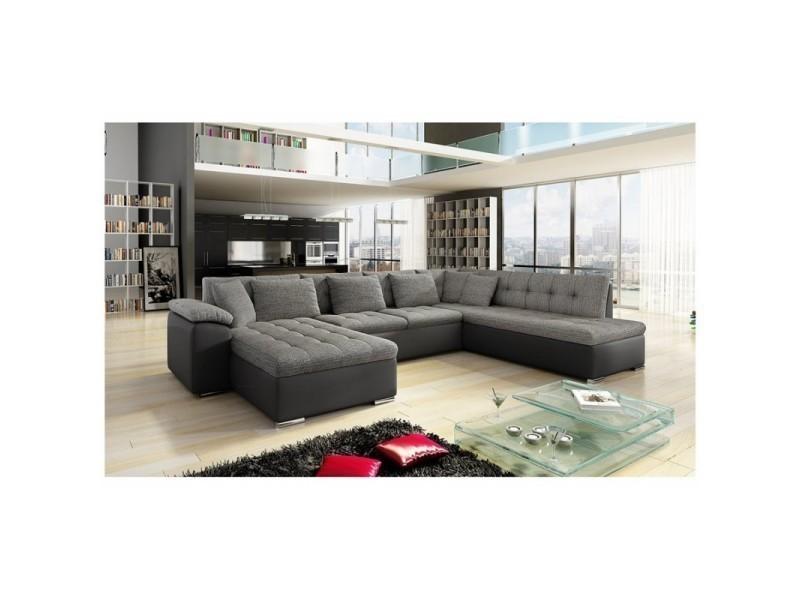 nouvelle arrivee 41c3a c901a Canapé d'angle panoramique xxl design alia gris et noir ...