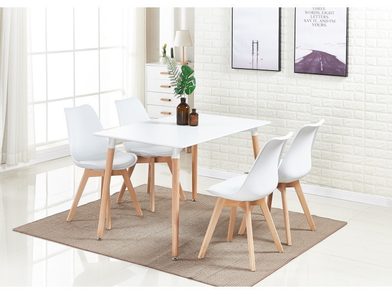 Ensemble Salle à Manger Moderne Lorenzo   Table Blanche + 4 Chaises  Blanches   Design Scandinave