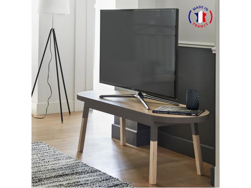 Meuble tv banc frêne massif 140x45 cm gris chocolat tanis - 100% fabrication française