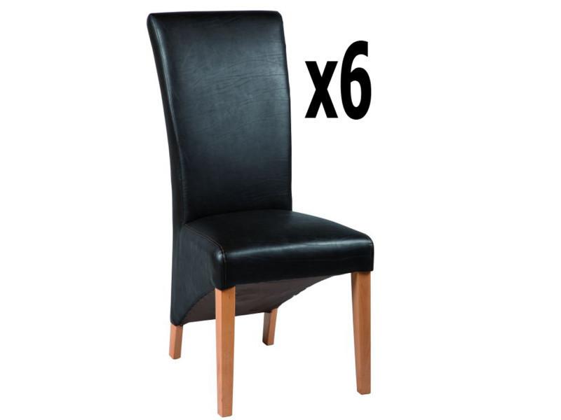 Lot de 6 chaises en polyuréthane coloris marron foncé, h 1100 x ht ass 510 x l 490 x p 650 mm -pegane-