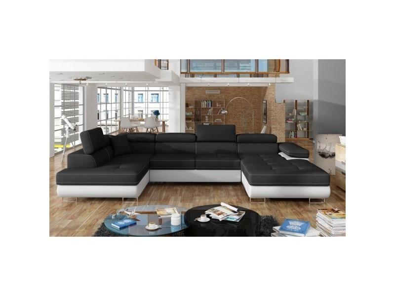 Alicia - canapé panoramique convertible en tissu noir et simili blanc coffre de rangement - angle droit