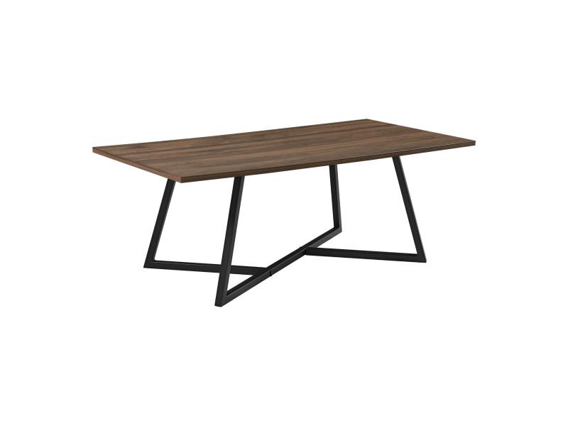 Table basse rectangulaire design pour salon table avec pieds solides en acier plateau en mdf 120 x 60 x 45 cm noir effet bois foncé [en.casa]