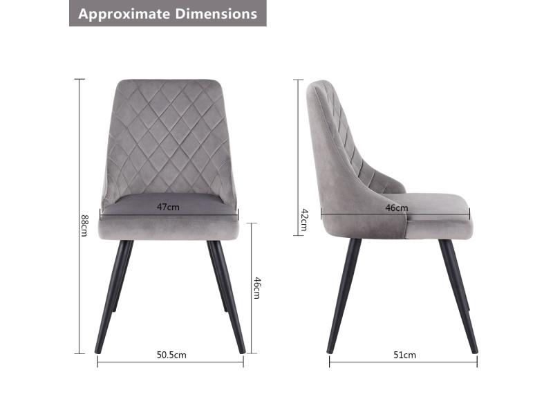 tissu à 2x gris velours salle chaise chaise manger SUVGLzMqp